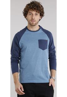 Camiseta Masculina Raglan Com Bolso Manga Longa Gola Careca Azul Marinho