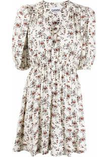Ganni Floral Crêpe Mini Dress - Branco