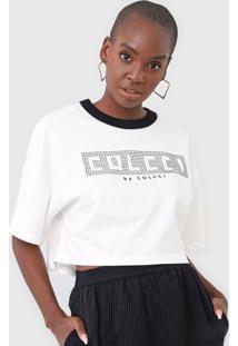 Camiseta Cropped Colcci Aplicações Branco