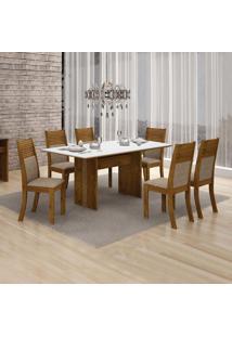 Conjunto De Mesa De Jantar Florença Com 6 Cadeiras Havai Linho Canela Branco