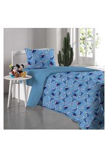 Cobre Leito Solteiro Disney Frozen Amizade Azul Portallar