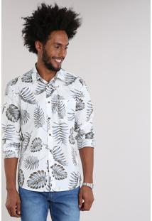 Camisa Masculina Estampada De Folhagem Com Bolso Manga Longa Off White
