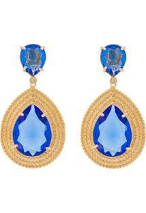 Brinco Banho De Ouro Gota Com Cristal - Feminino-Azul