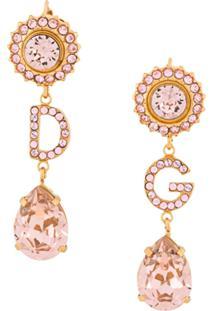 Dolce & Gabbana Par De Brincos Com Pingentes De Cristais - Dourado