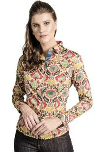 Camisa Carlos Brusman Feminina Slim - Feminino-Bege