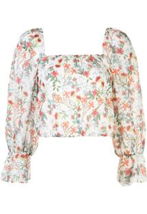 Alice+Olivia Blusa Decote Quadrado Com Padronagem Floral - Branco