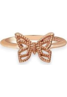 Anel Vivara Life Enigma Borboleta Com Banho Ouro Feminino - Feminino-Rosê