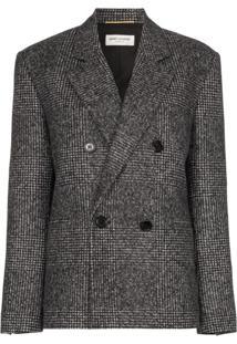 Saint Laurent Blazer De Tweed Com Abotoamento Duplo - Cinza
