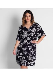 Vestido Floral Plus Size Secret Preto