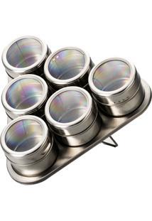 Porta Temperos Magnético Com Suporte Bon Gourmet Inox 7 Peças - Unissex