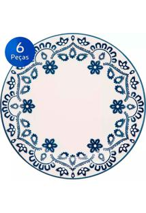 Conjunto De Pratos Rasos 6 Peças Floreal Energy - Oxford - Branco / Azul