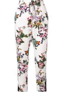 Liu Jo Calça Floral Cintura Alta Com Amarração - Branco