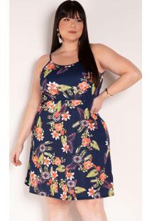 Vestido De Alças Floral Marinho Plus Size