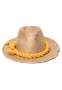Chapéu Feminino Panamá Com Corda Em Lurex - Bege