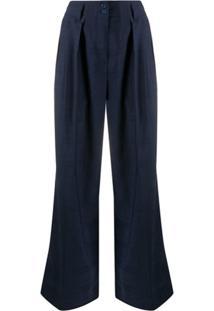 Paul Smith Calça Pantalona Com Cintura Alta - Azul