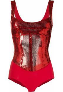 Atu Body Couture Body Sem Mangas Com Paetês - Vermelho