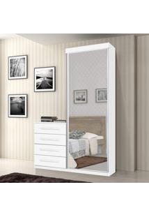 Cômoda Multiuso Com Espelho 1 Porta 4 Gavetas Thor J E A Móveis Branco