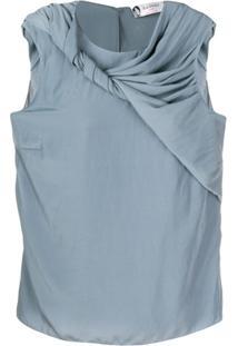 Lanvin Twirled Drape Sleeveless Blouse - Azul