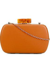 Bolsa Shoestock Clutch Evening Closure Feminina - Feminino-Caramelo
