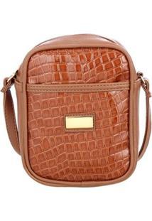 Bolsa Me Visto Croco Shoulder Bag Verniz Feminina - Feminino-Caramelo