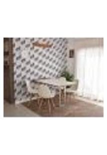 Conjunto De Mesa Dobrável Retrátil 1,40 Branco/Noronha Inox + 4 Cadeiras Botonê - Branca