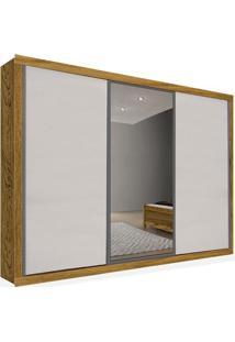 Armário 03 Portas De Correr 2,76 Espelho Central, Carvalho Com Branco, Premium Plus Ii