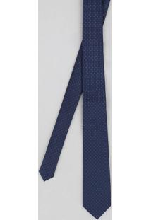 Gravata Masculina Texturizada Estampada De Poás Azul Marinho