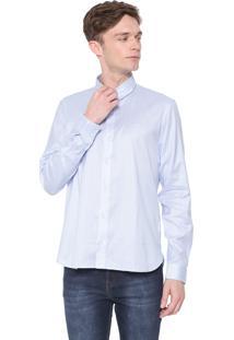 Camisa Lacoste Slim Xadrez Azul/Branca