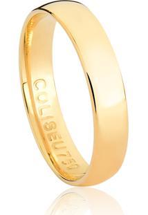 Aliança De Ouro 18K Abaulada Anatômica Polida Lisa-Alianças Exclusivas Coliseu(4,00Mm)