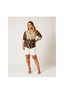 Shorts Liso Almaria Plus Size Ela Linda Pregas Laterais Branco