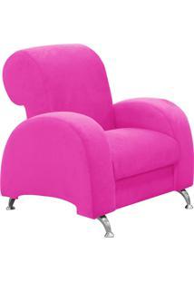 Poltrona D'Rossi Decorativa Hipo Suede Pink Com Pés Em Alumínio - D'Rossi