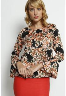 Blusa Floral - Preta & Rosa Claro - Moisellemoisele