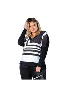Blusa Feminina Plus Size Doce Trama Lisamour Preto/Branco