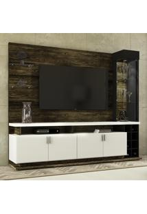 Rack Com Painel Para Tv Vivace Até 55'' 4 Portas Canela/Branco - Colibri Móveis
