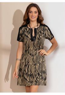 Vestido Clássico Tigre Marrom Com Recortes