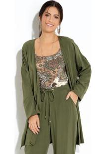 Kimono Verde Com Fendas Nas Laterais