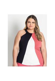 Blusa Feminina Plus Size Frente Única Secret Glam Rosa