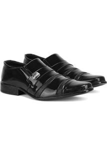 Sapato Social Sapatofran Sintético Verniz Masculino - Masculino-Preto