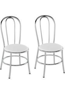 Kit Com 2 Cadeiras Corino Branco/Cromado Pozza