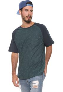 Camiseta ...Lost Raglan Pocket Azul-Marinho/Verde