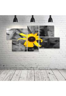 Quadro Decorativo - Flower-Yellow - Composto De 5 Quadros - Multicolorido - Dafiti