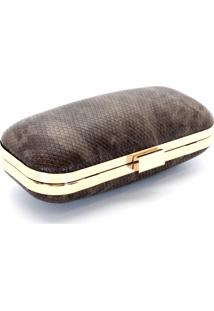Bolsa Royalz Clutch Dourada Marrom Cobra