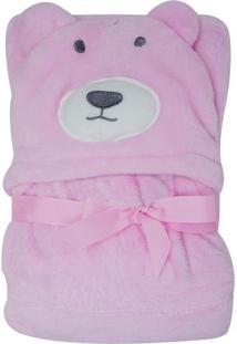 Cobertor Infantil Com Capuz De Bichos- Rosa Claro- 7Niazitex
