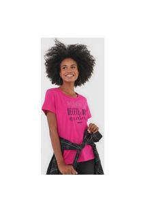 Camiseta Colcci Aplicação Lettering Rosa