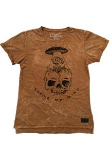 Camiseta Longline Stoned Estonada Losing My Mind Areia