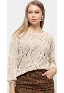 Suéter Fast Glam Cropped Tricot Feminino - Feminino-Areia