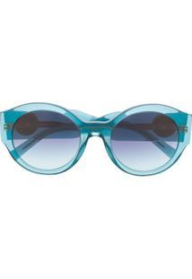 Versace Eyewear Óculos De Sol Oversized Medusa Head - Azul