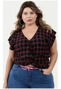 Blusa Feminina Estampa Quadriculada Plus Size Marisa