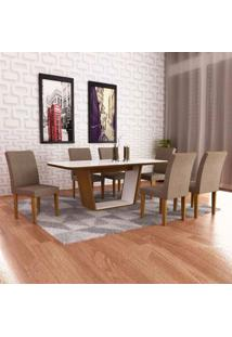 Mesa Sofia Com Vidro Offwhite 1,80 + Cadeira Grécia 6 Peças - Imbuia Com Branco