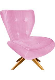 Poltrona Decorativa Tathy Suede Rosa Bebê Com Base Giratória De Madeira - D'Rossi